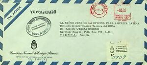 ARGENTINA 1973 METERED REGD AIRMAIL COVER FROM BUENOS AIRES TO VIENNA AUSTRIA
