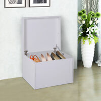 Ample Capacity Shoe Cabinet Box Bench w/ Drawers Particleboard White