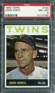 1964 Topps #194 John Goryl PSA 8 NM-MT