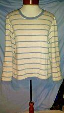 Orvis Womens Small Blue/Gray Stripe Leather Elbow Patch Fleece Lined Sweatshirt