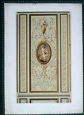 1880 FRENCH Architecture imprimé style Louis XVI Lambris dun SALON Hotel rue neuve