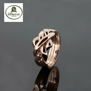 Puzzle Ring By Herron 9ct Gold Four Piece Rose Gold Puzzle Ring Size (I-Q)