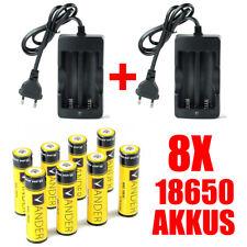 VANDER 8 X 18650 3.7V Li-Ionen Batterie Original 6000mAh Akkus + 2XEU Ladegeräte
