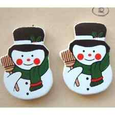 Funky SNOWMAN  BUTTON EARRINGS-Frosty Winter Holiday Charm Costume Jewelry-WOOD