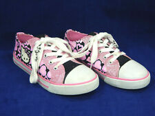 HELLO KITTY Canvas Shoes/Sneakers With Glitter, Pink/Black/White, Girls Size 2M