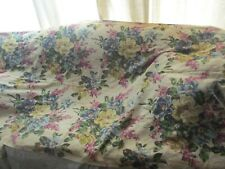 "Vintage BARKCLOTH Drapery Panel , Large Florals, Blues, Purples. 40"" by 80"""