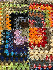 "Vintage Handmade Granny Afghan Multicolored Squares Throw Blanket [40"" x 40""]"