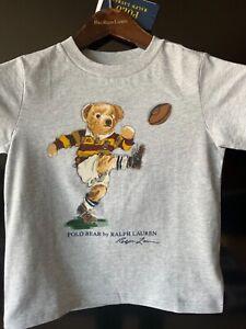 Polo Ralph Lauren Cotton Football polo Bear grey T-Shirt Sz S 3T kid NWT ma