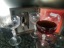 Vintage Set 4 Etched Floral Cocktail Glasses Coupes with Corkscrew Wine Opener