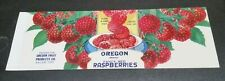 Oregon Brand Raspberries Oregon Fruit Products Co Salem Oregon Can Label