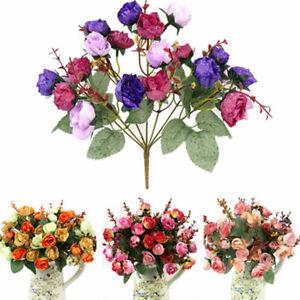 21Heads Artificial Rose Flower Fake Silk Flower Wedding Party Bouquet Home Decor