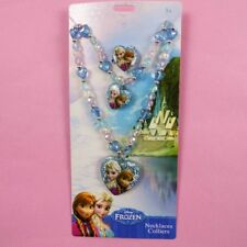 Frozen Sets Kids Presents Elsa Pendant Chunky Bead Necklace+Ring+Hand catenary