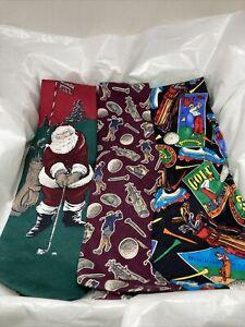 Men's Golf Themed Neckties Zylos George Machado  Santa Golfing Rooster Addiction