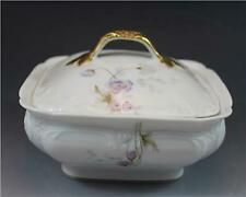 C1890s Elite French Limoges Porcelain Covered Butter Dish w/ Wild Flowers