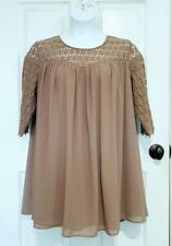 Umgee Women's BOHO Taupe Brown Lace Chiffon Babydoll Lined Top Tunic Sz Xlarge