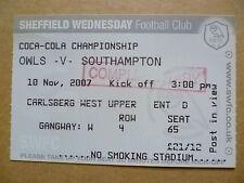 Ticket- OWLS v SOUTHAMPTON, Coca Cola Championship, 10 November 2007