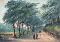 FIGURES IN LANDSCAPE BOURNEMOUTH Antique Watercolour Painting 1911
