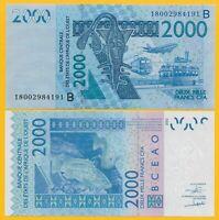 West African States 2000 Francs Benin (B) p-216B 2018 UNC Banknote