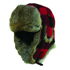 WOOLRICH SALE * RED & BLACK PLAID WOOL TROOPER HAT S/M ** TRAPPER BOMBER AVIATOR