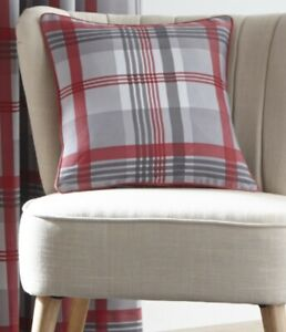"""Tartan Check Cushion Cover Double Sided Seat Pad Cover 17"""" x 17"""" 43cm Red & Grey"""