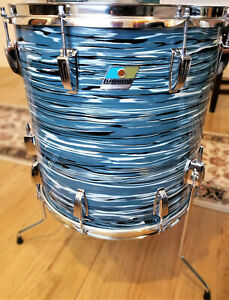 VINTAGE 1970's LUDWIG 3PLY 16x16 FLOOR TOM BLUE OYSTER BOWLING BALL