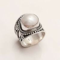 Natural Italian FreshWater Pearl Ring 925 Sterling Silver Ethnic Vintage Jewelry