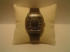 Ladies Fashion Quartz Silver Tone Black Dial Black Band Wrist Watch.