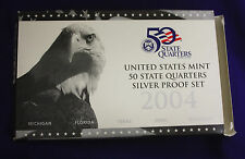2004 U.S. Mint SILVER 50 State Quarter Proof Set. In original GRAY box.