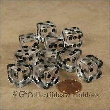NEW 10 Transparent Clear D6 6 Sided RPG Bunco Gaming Dice Set 16mm Koplow D6s