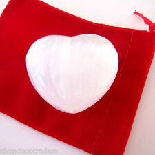SELENITE Carved Puff Heart Set  45mm Red Velour Pouch Angels Angelic USA SELLER