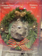 Keeshond Christmas Wreath Ornament