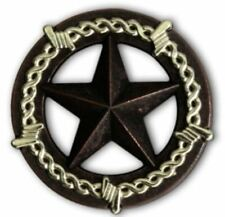 """2943SB-M49 1 1/2"""" Rustic Silver Barb Wire Star Concho"""