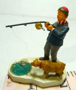 Victorian Village Lemax Boy Fishing with his old Brown Dog 1999