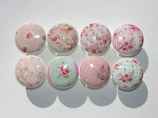 Set of 8 Shabby Pink Cottage Roses Dresser Drawer Knobs Group 2