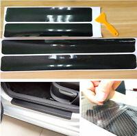 4Pcs 4D Carbon Fiber Black Car Door Sill Scuff Plate Cover Anti Scratch Sticker