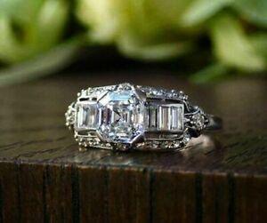 14K White Gold 2.89 Ct Asscher Cut Diamond Retro Vintage Art Deco Unique Ring SN