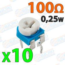 10x Potenciometro 100 ohm 1/4w 0,25w horizontal resistencia variable PCB
