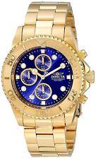Invicta Gold Oro Crystal Man Watch Hombre Reloj Bracelet Pulsera Hand Steel Case