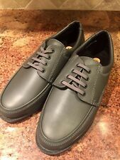 Padders FLEX Mens Sz 9 Soft Leather Lace Up Wide Fit (G/H) Comfort Loafers Gray