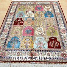 YILONG 4'x6' Persian Silk Rugs Handmade Garden Carpet Discount Hand Knotted 0663