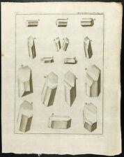 1777 - Gravure Chimie cristaux de Borax - Académie Royale des Sciences