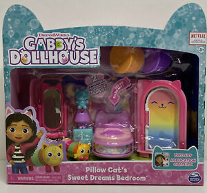 NEW Netflix Gabby's Dollhouse Pillow Cat's Sweet Dreams Bedroom Furniture Set