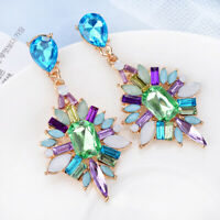 1 pair Elegant Flower Crystal Rhinestone Ear Drop Dangle Stud long Earrings