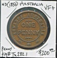 "AUSTRALIA - FANTASTIC HISTORICAL ""ADVANCE AUSTRALIA"" ONE PENNY TOKEN, ND(1850)"