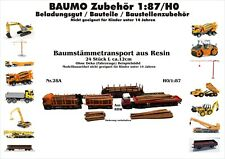 Nr.28A Baumstämmetransport 24 St.12cm 1:87/H0 Resin f.Baufahrzeuge Eisenbahn LKW