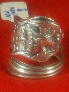 NEW YORK State Handmade Silver Plate Spoon Ring Detailed Silverware Flatware HOT