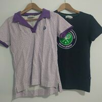 Wimbledon Tennis Ladies Polo Shirt T-shirts Size Small Purple White Official