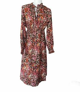 women's NWT H&M Mama maternity dress small floral pink Knee Length Long Sleeve