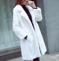 Ladies White Faux Fur Lapel Long Loose Coats Overcoats Winter Korean Warm Parkas