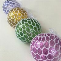 24 x Clear GLITTER Colours Squishy Mesh Ball 5cm Squeeze Toys Anti-Stress Kids